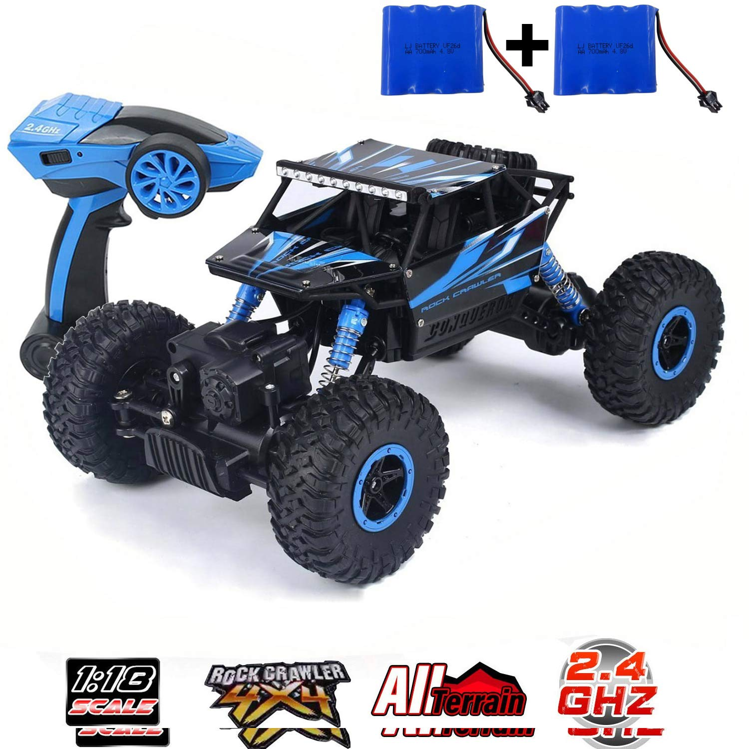 SZJJX RC Cars Off-Road Remote Control Car Trucks Vehicle 2.4Ghz 4WD Powerful 1: 18 Racing Climbing Cars Radio Electric Rock Crawler Buggy Hobby Toy for Kids Gift-Blue by SZJJX