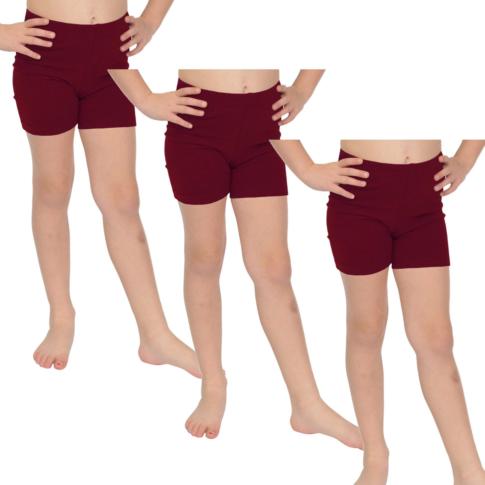 Stretch is Comfort Girl's Cotton Biker Shorts Set of 3 Pieces Burgundy Large by Stretch is Comfort