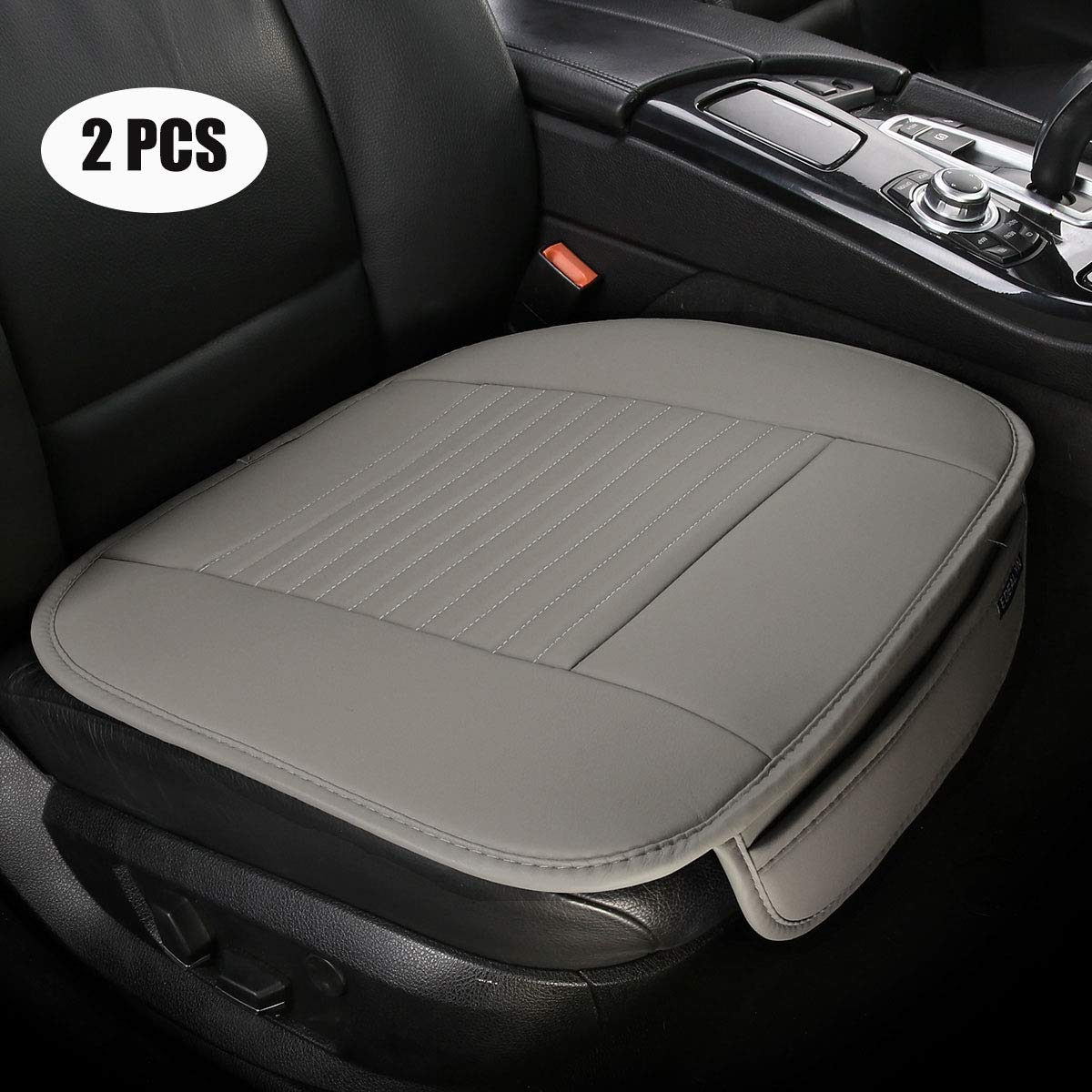 PU leather Car seat cover Car Accessories Car Seat Protector Seat Covers Universal Car, 2PCS Gray-N EDEALYN 19.7 inches deep /× 20.87 wide