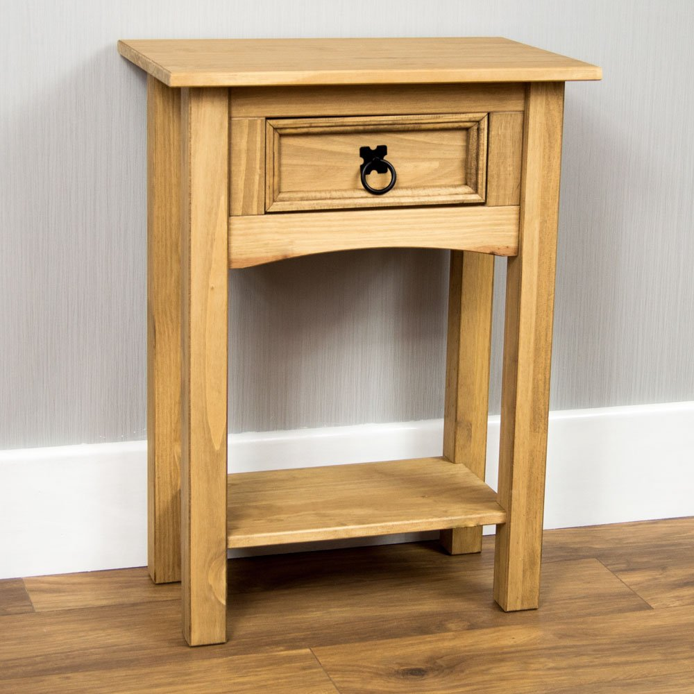 Home Discount Corona Magazine Table 1 Drawer, Solid Pine Wood