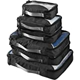 G4Free Packing Cubes Value Set for Travel - 6pcs (A-Black)