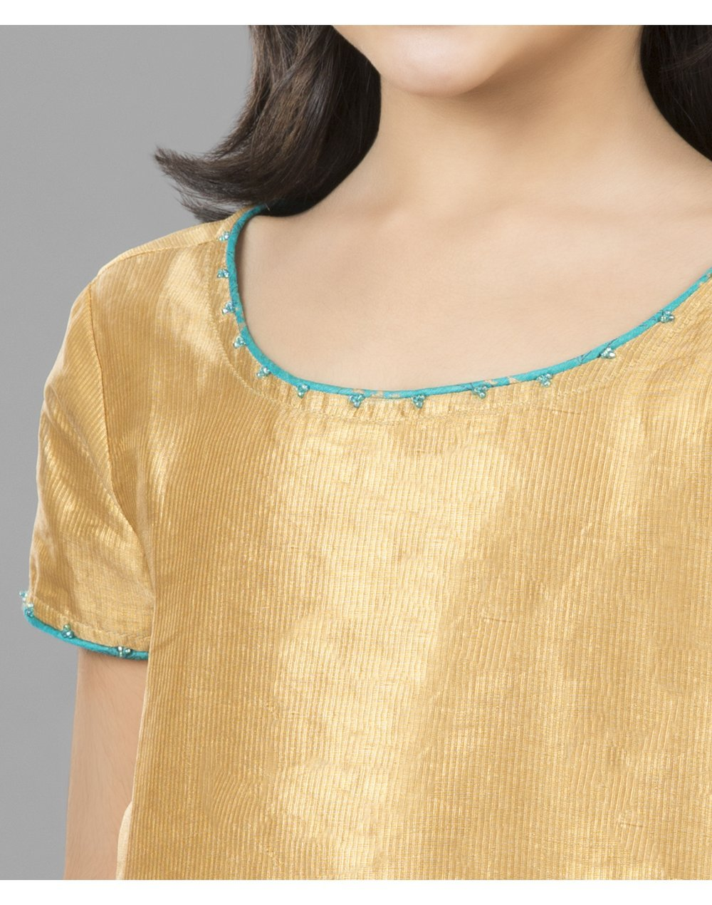 Fabindia Girls Silk Cotton Choli Back Tie Lehenga Set 6-8Yr