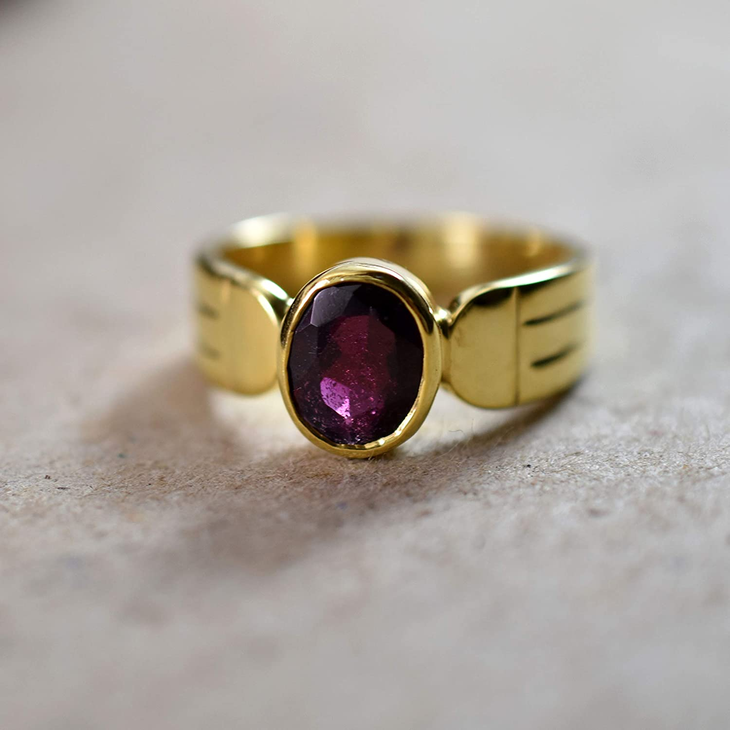 Silver and Gold ring Gemstone ring Unique silver ring Red Garnet Ring Womens silver ring handmade