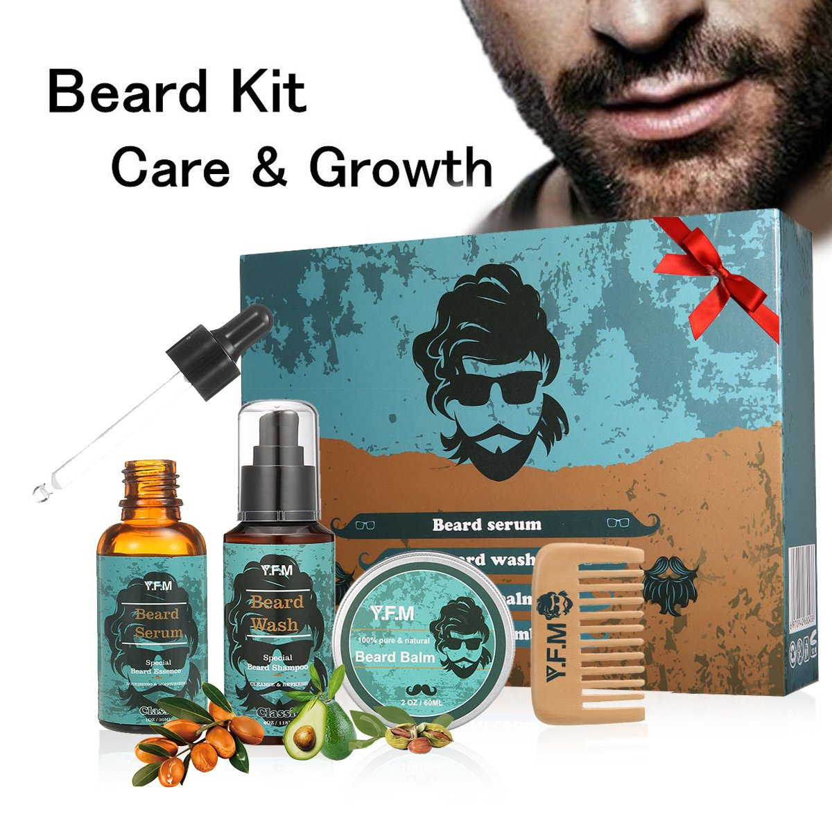 Beard Grooming Kit Luckyfine Ultimate Beard Care and Moustache Care Gift Set Includes:Beard Shampoo, Beard Serum, Beard Balm and Beard Comb-Great Gift for Birthday,Father's Day,Dad and Boyfriend Father's Day