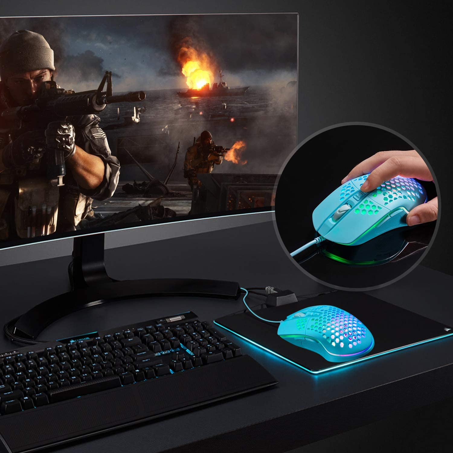 Lightweight Gaming Mouse, Wired USB PC Gaming Mice with Ultralight Honeycomb Shell, RGB Chroma LED Light, 6400 DPI Adjustable, Pixart 3325, Programmable 7 Buttons Mouse for Windows 7/8/10/XP: Computers & Accessories