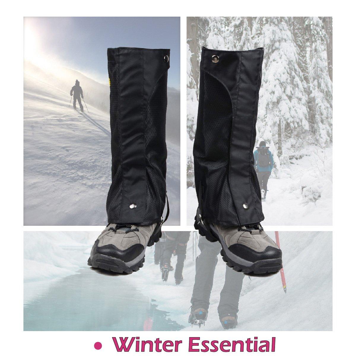 TRIWONDER Snow Leg Gaiters Polainas de Arranque a Prueba de Agua Polainas Cubierta para IR de excursi/ón Escalada de Senderismo Caza Ciclismo (Negro 1 par L )