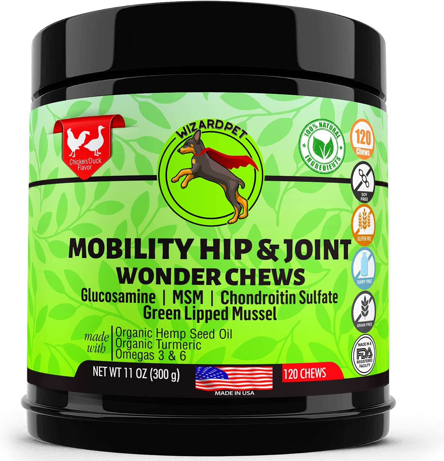 WIZARDPET Advanced Hip & Joint Supplement for Dogs | Glucosamine Chondroitin for Dogs | Omegas | Turmeric MSM Green Lipped Mussel, Dog treats support mobility | 120 Chews