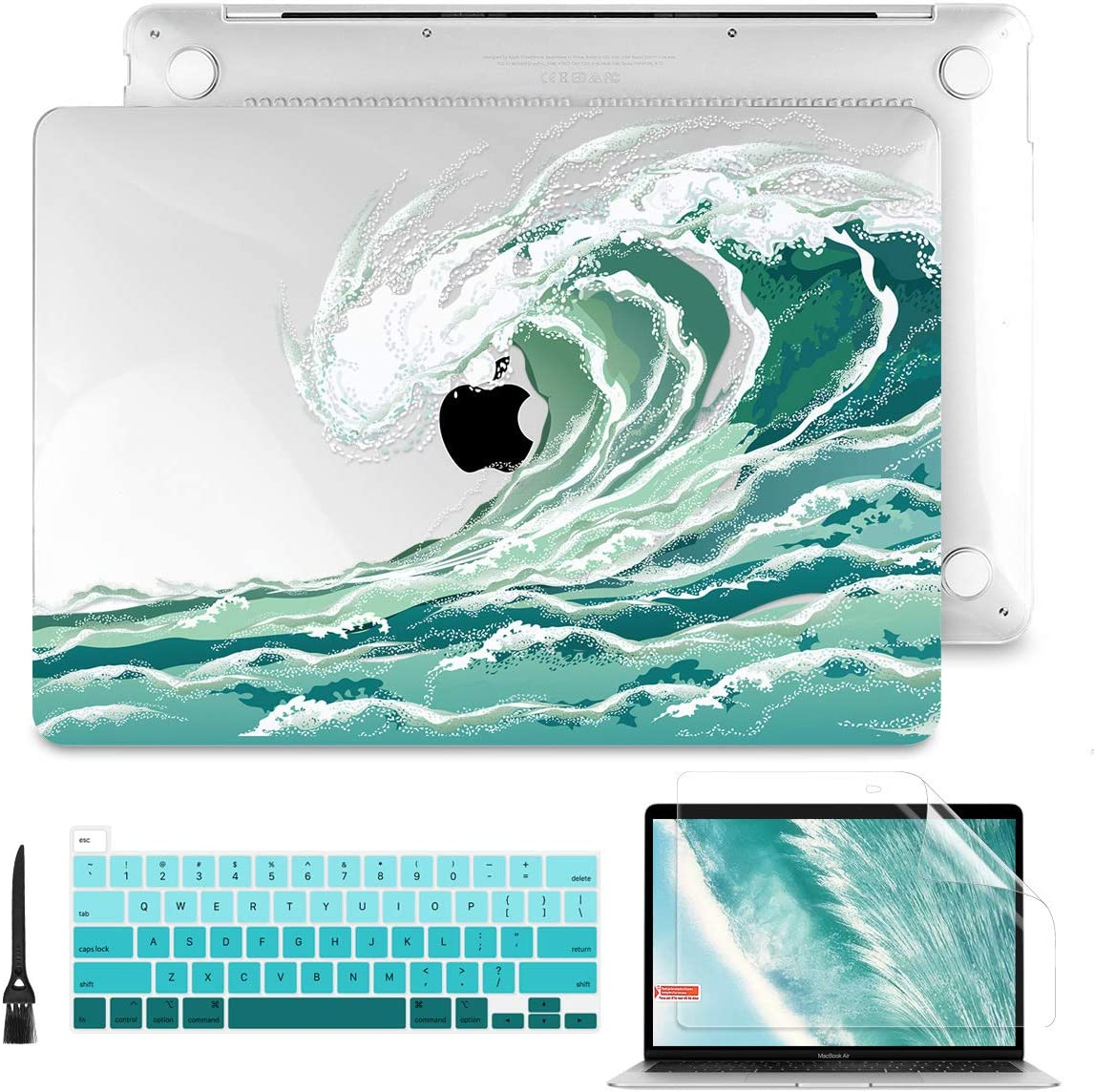 """Batianda for MacBook Pro 13 Case 2020 Release Model: A2289/A2251, Plastic Hard Shell Case with Keyboard Cover Screen Protector for Newest MacBook Pro 13"""" with Touch Bar (Wave)"""