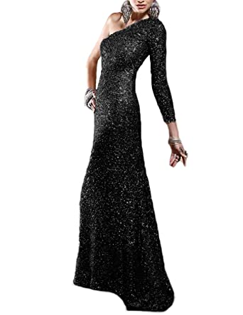 Beautbride Womens One Shoulder Sequin Mermaid Evening Dress Long