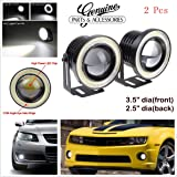 "3.5"" High Power Led Projector Fog Light Cob With White Angel Eye Ring 15W Set Of 2"