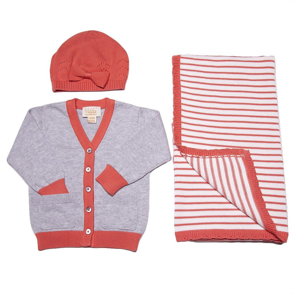 V-Neck Buttoned Grey Cardigan with Contrast Binding Baby to Six Year.