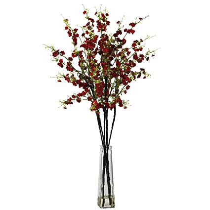 Amazon nearly natural 1193 rd cherry blossoms with vase silk nearly natural 1193 rd cherry blossoms with vase silk flower arrangement red mightylinksfo