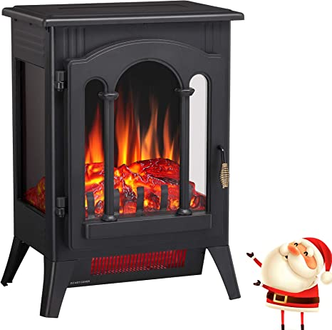 Joy Pebble Compact Electric Fireplace Heater Freestanding Stove Heater With Realistic Flame Etl Certified Overheating Protection Small Spaces Heater 1000 1500w 16 3 W X 22 8 H Kitchen Dining