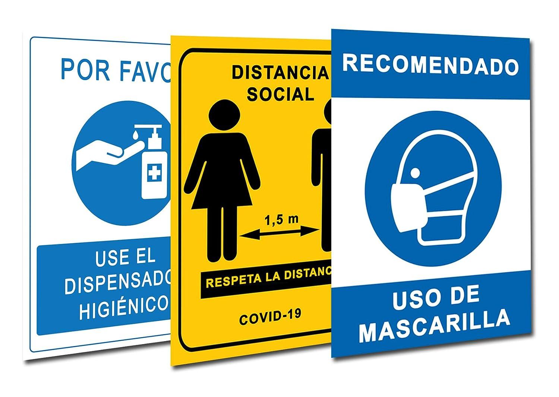 Señalización Coronavirus COVID19 | Pack 3 Carteles Dispensador Gel + Distancia Social + Mascarilla | Señales para Tiendas, Negocios, Locales | Autoinstalable | 21 x 30 cm | Descuentos por Cantidad