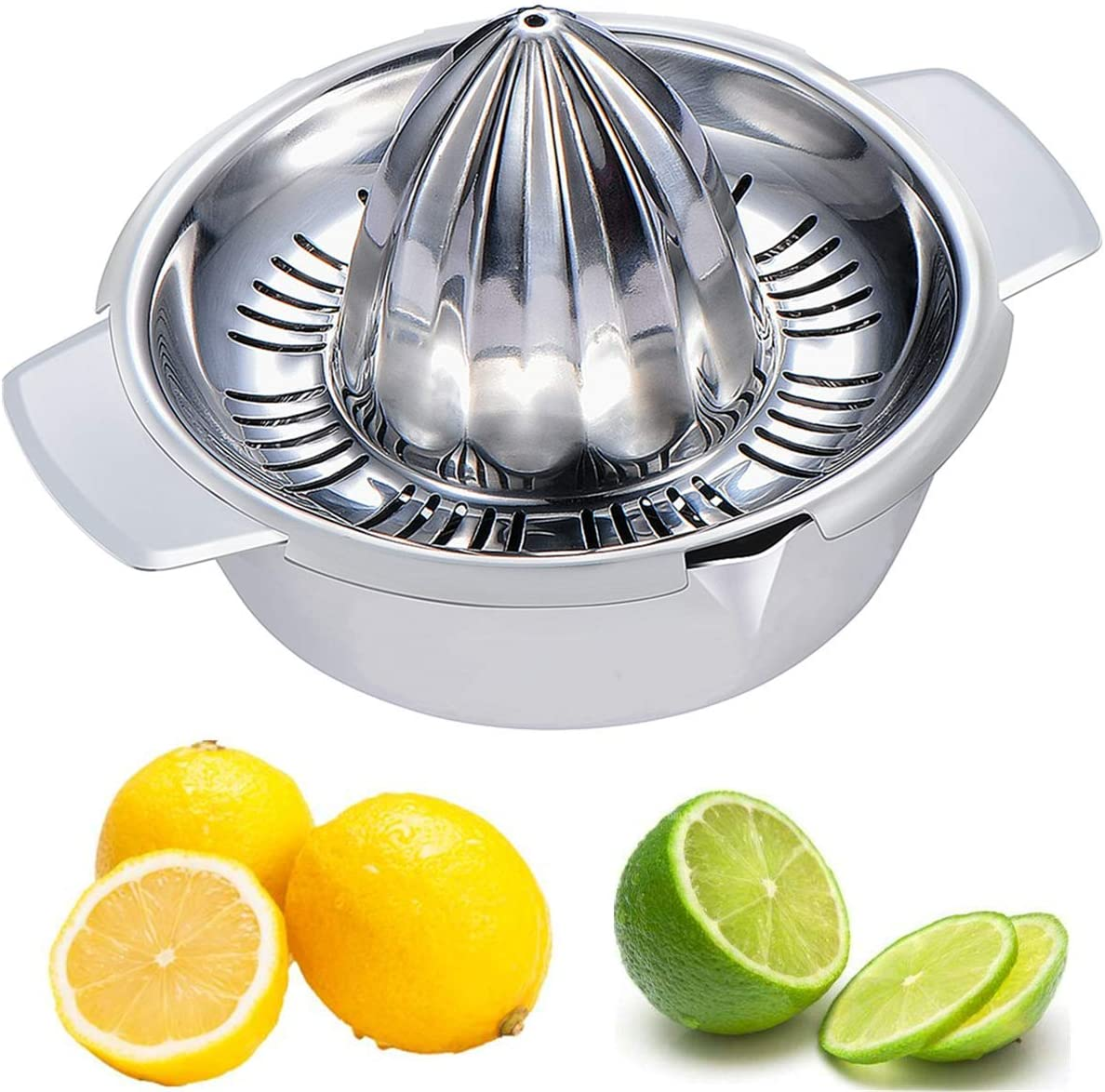 Citrus Lemon Orange Grapefruit Juicer Manual Stainless Steel 304 Anti-Rust Metal Hand Press Fruit Squeezer with Juice Strainer and 12 OZ Bowl with 2 Spouts, Dishwasher Safe, Easy to Clean, Heavy Duty