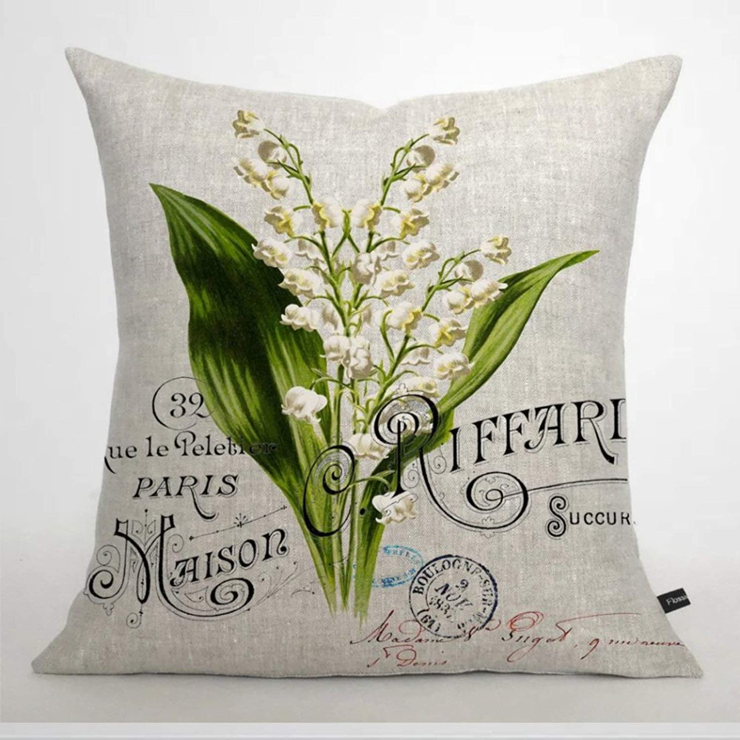 BYRON HOYLE French Lily of Valley Cushion Cover,Throw Pillow Cover,Rustic Linen Decorative Lumbar Pillowcase for Chair Room Sofa car,Home Decor,Housewarming 18x18 Inch