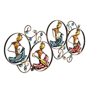 Collectible India Metal Playing Musician Lady Frame Wall Mounted Hanging Art Sculpture Modern Arts Home Office Restaurant Decor(Size 30 x 14 Inches, Multi-Color)