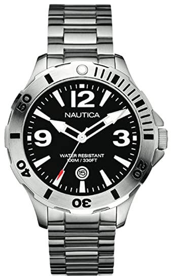 Nautica A14544G - Reloj analógico de cuarzo para hombre con correa de acero inoxidable, color plateado: Amazon.es: Relojes