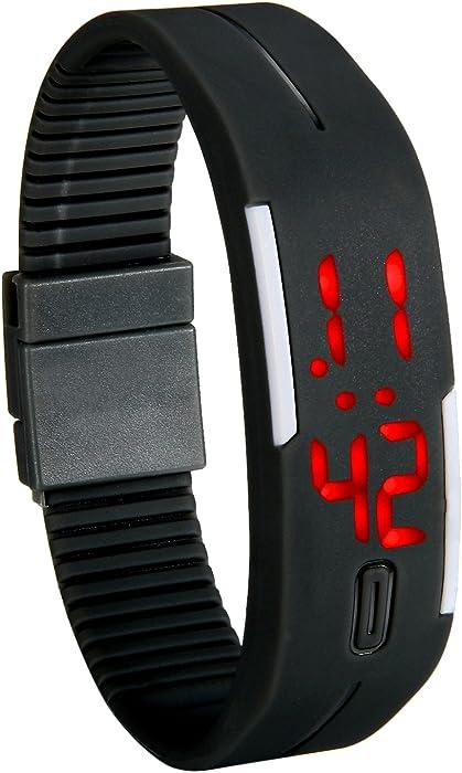 Lancardo Reloj Electrónico con Luces de LED Correa de Silicona Pulsera Digital Ajustable Multifunción Formato 12/24H Calendario Unisex para Adultos y ...