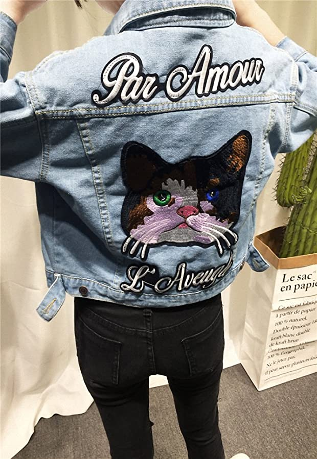 Womens Fashion Jean Coats with LetterSoft Lady Jean Jacket picture color at Amazon Womens Coats Shop