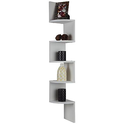 ARAD 5 Tiers White Corner Floating Wooden Shelf, Floating Shelf, Living  Room Shelf, Dorm Room Decor, Floating Shelves