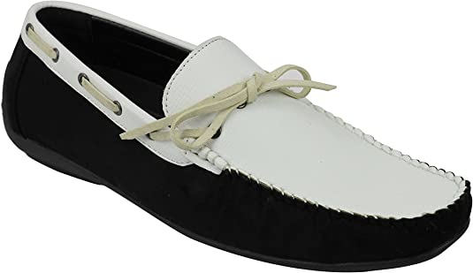 TALLA 41 EU. Los Hombres De Cuero De Imitación Negro Slip Mocasín Zapatos De La Oficina De Elegant Casual Tamaño Reino Unido 6-11