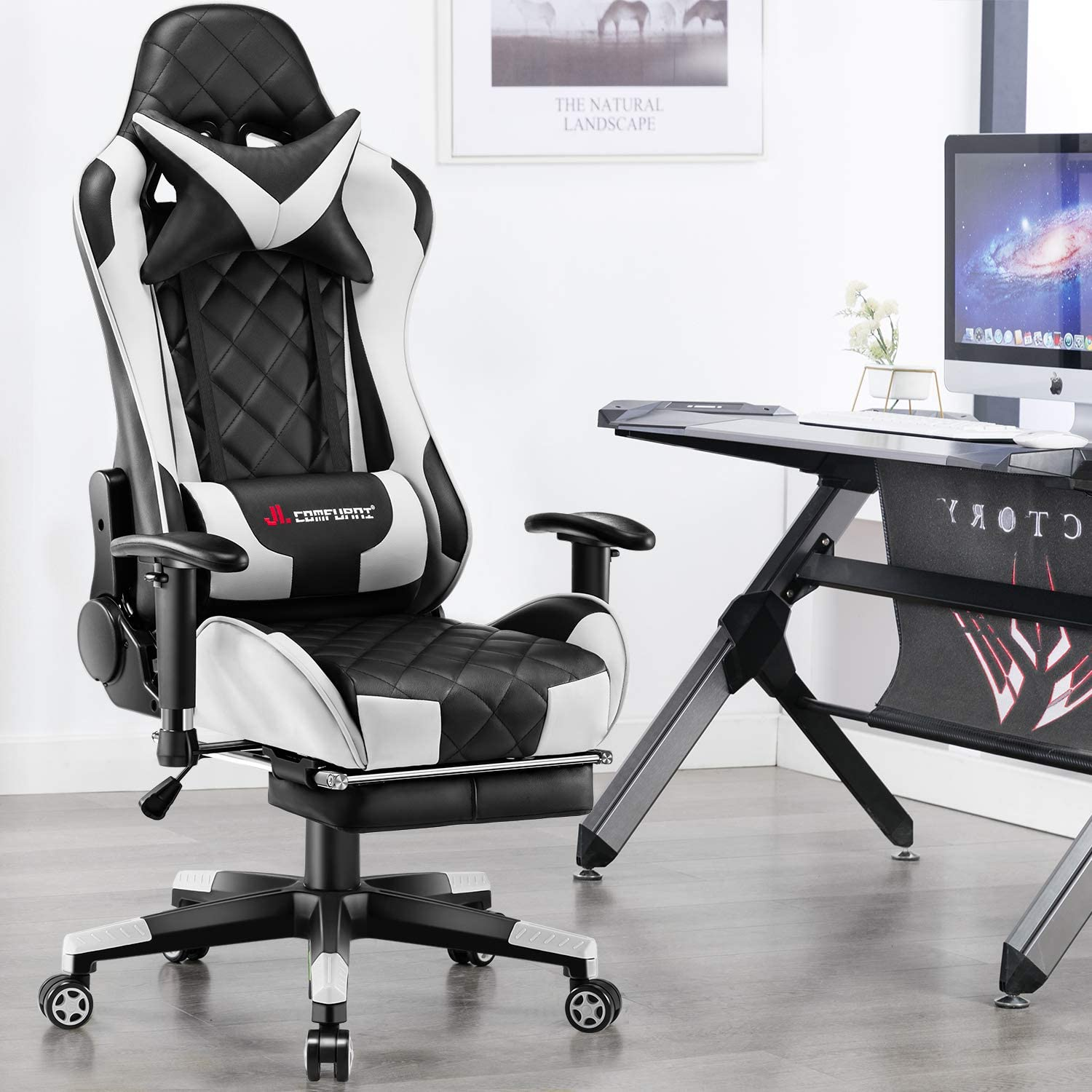 JL Comfurni Gaming Chair Racing Computer Chair Office Desk Chair High-Back Gaming Recliner with Footrest Ergonomic Video Chair PU Leather Swivel E-sports Chair Green