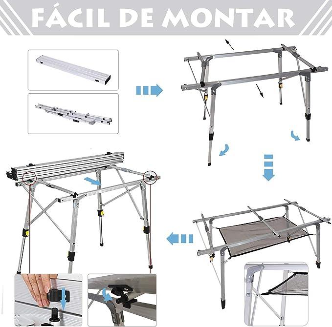 Outsunny Mesa de Picnic Plegable Altura Regulable con Estante de Malla Espacio para 4 Personas Estructura Estable de Aluminio con Bolsa de Transporte ...