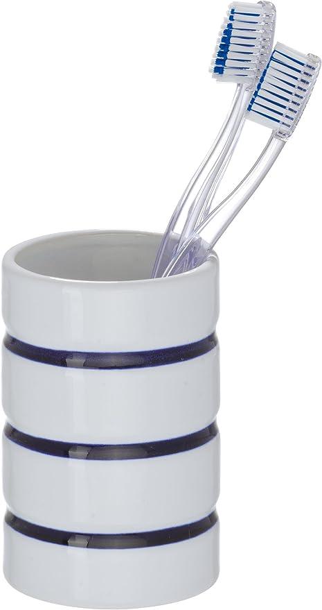 Cer/ámica 8 x 8 x 10.8 cm Blanco Wenko Malta Vaso para Cepillos de Dientes