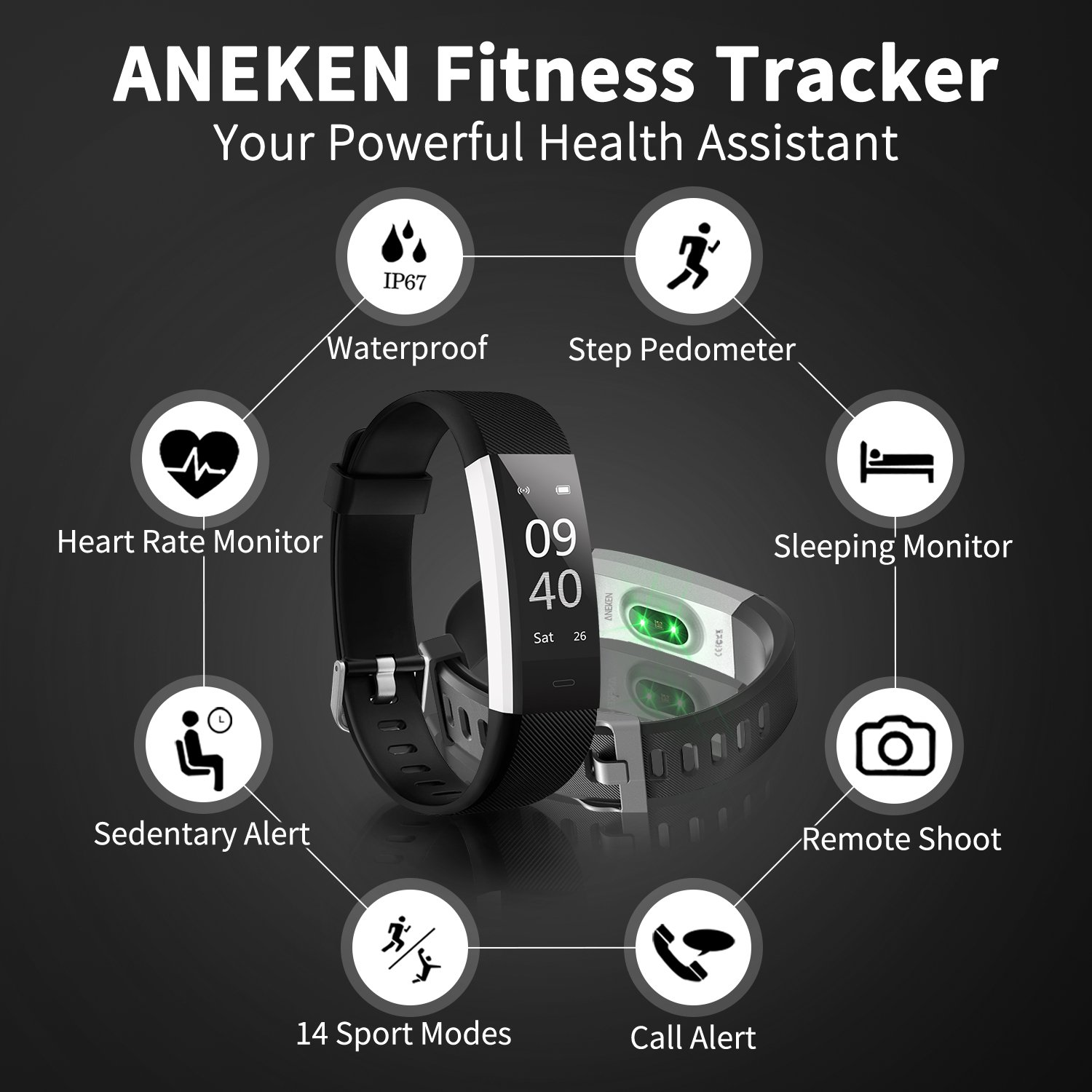 Fitness Tracker Activity Tracker Aneken Smart Band Heart Rate Sleep Monitor Waterproof Smart Bracelet Bluetooth Pedometer Wristband Smart Watches for Android and iOS Smart Phones by ANEKEN (Image #2)