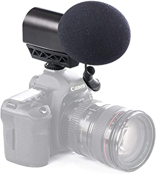 Monitoring /& More High-Frquency Switches High-Pass Filter Saramonic VMIC Pro Super Directional Condenser Video Microphone with Rubberized Shockmount for DSLR Cameras /& Camcorders Level Control