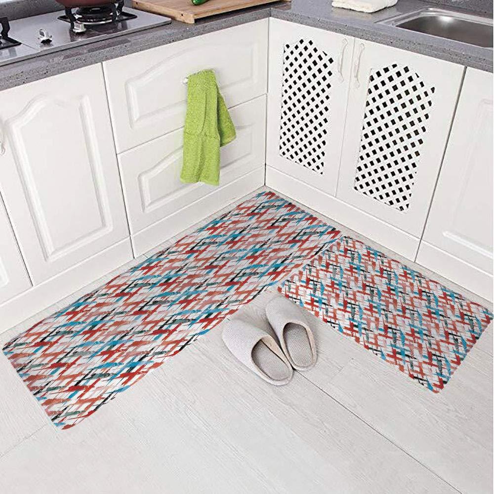 2 Piece Non-Slip Kitchen Mat Rug Set Doormat 3D Print,Patterns Street Art Spray Paint Chaos of Colors,Bedroom Living Room Coffee Table Household Skin Care Carpet Window Mat,