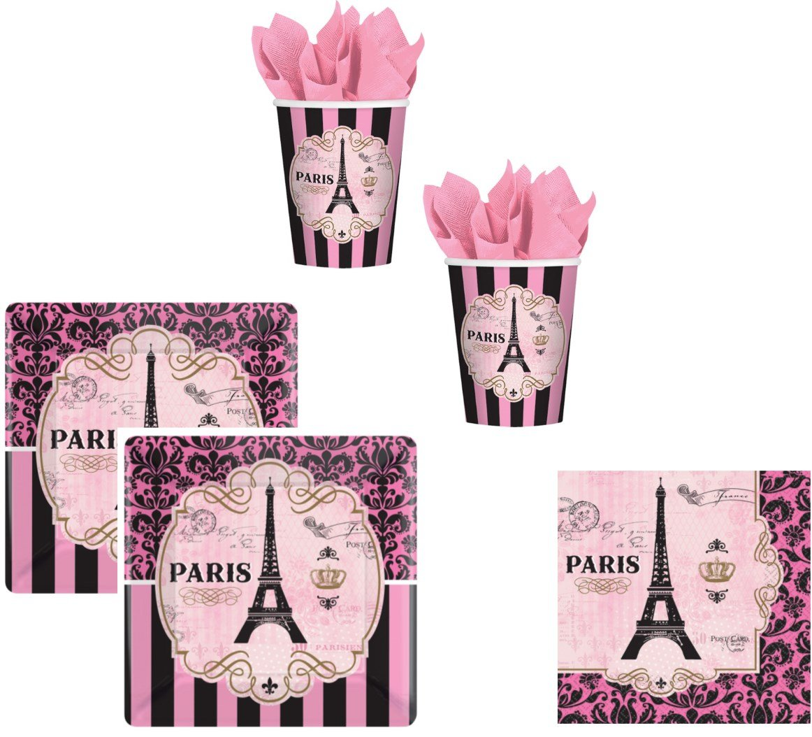 servilletas de Tazas con Torre Eiffel para 16 Personas Unbekannt Conjunto de Fiesta de 48 Piezas para un d/ía en Par/ís