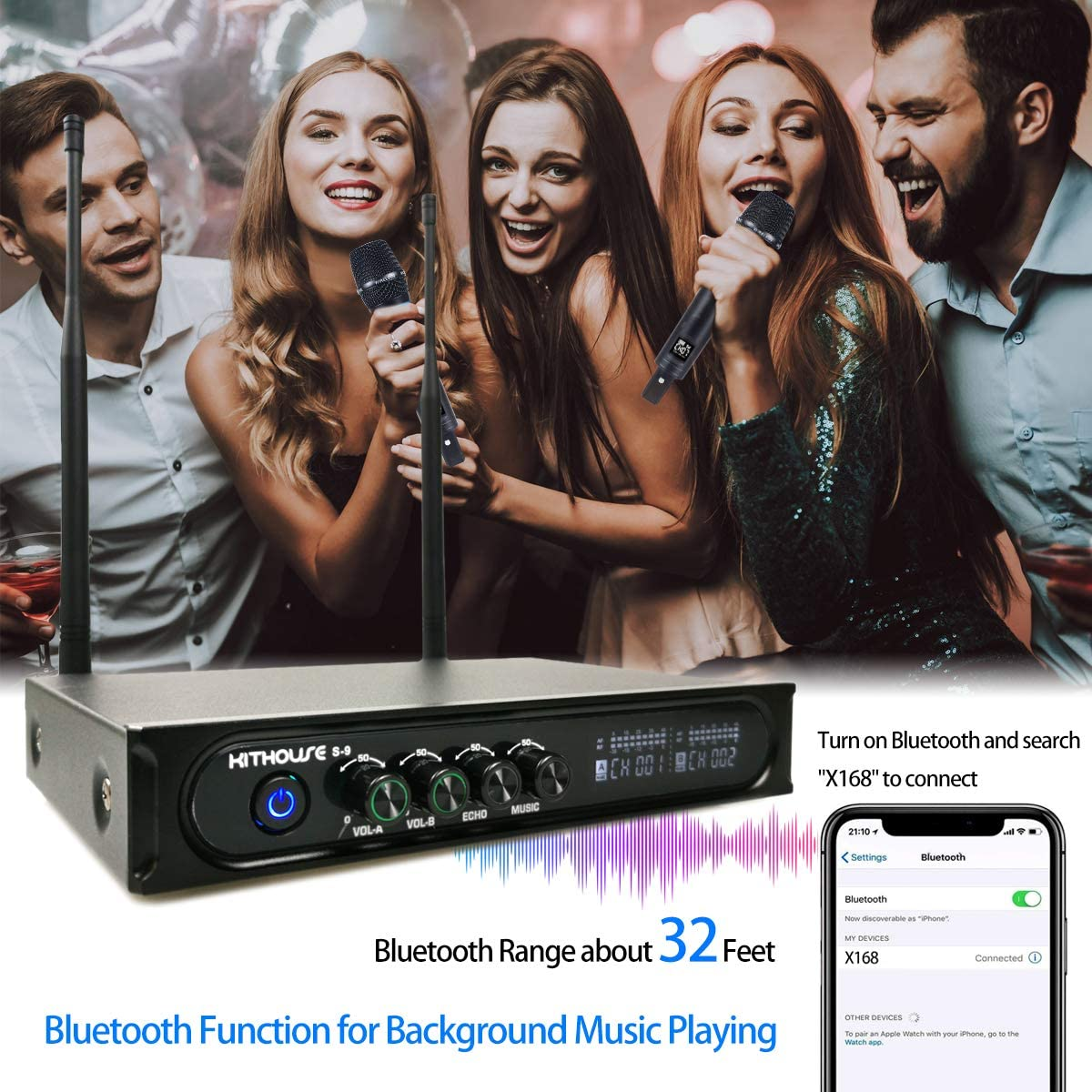 Kithouse S9 UHF Rechargeable Wireless Microphone System Karaoke Microphone Wireless Mic Cordless Dual with Bluetooth Receiver Box + Volume Control ECHO for Karaoke Singing Speech Meeting Church, 200FT