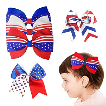 "5/"" Patriotic //4th of July Over The Top Boutique Hair Bow"