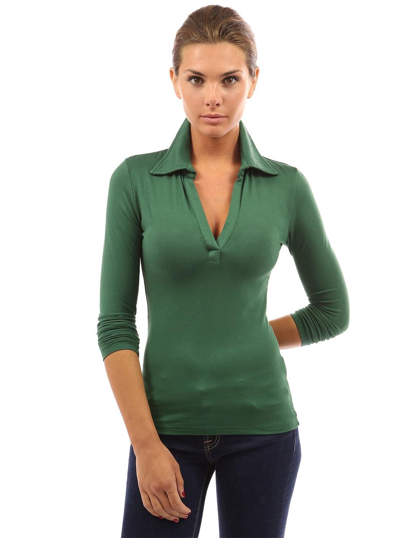 PattyBoutik Damen-Polohemd mit V-Ausschnitt und Langen /Ärmeln