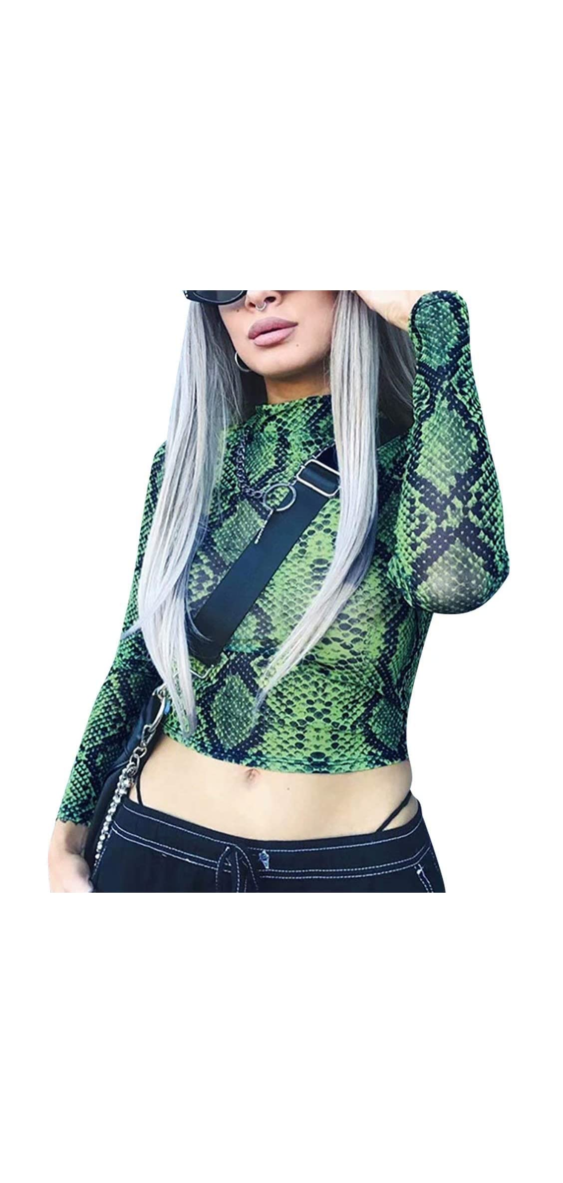 Snake Skin Print Blouse Womens Mock Neck See Through Sexy Crop