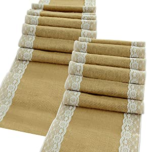 """kingleder 2 Pack 12"""" x 108"""" Burlap Table Runner White Lace Trim Jute for Thanksgiving Table Decorations Country Rustic Wedding Party Decorations"""