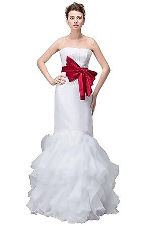 Vogue007 Womens Strapless Satin Pongee Wedding Dress With