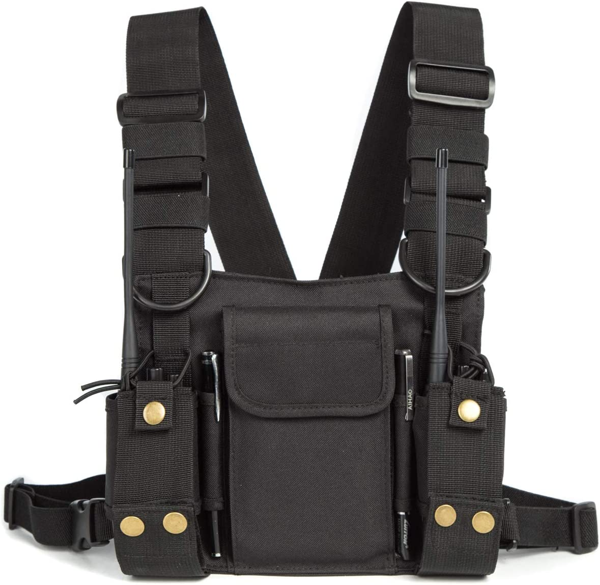 Black Radio Shoulder Holster Chest Harness Holder Vest Rig for Two Way Radio Chest Front Pack Pouch Walkie Talkie Case with Front Pouches for Kenwood Arcshell Retevis Baofeng UV-5R F8HP UV-82 888S