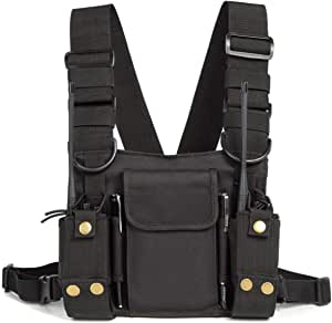 Radio Shoulder Holster Chest Harness Holder Vest Rig for Two Way Radio Chest Front Pack Pouch Walkie Talkie Case with Front Pouches for Kenwood Arcshell Retevis Baofeng UV-5R F8HP UV-82 888S (Black)