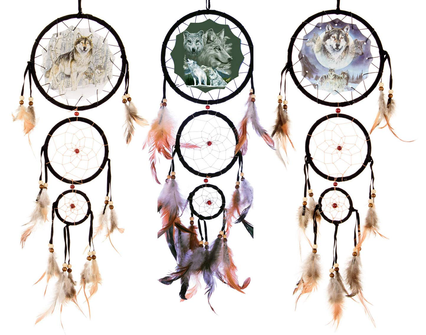 OBI 20'' Long Wolf Dream Catchers 3pc Gift Set - Wildlife Wolves Mandella - Decorative Wall Hanging Ornament Decor -