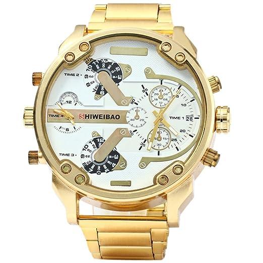 d01e73a2ae12 fenkoo Hombre Militar reloj Quartz Calendario Tiempo Dual zonas Acero  Inoxidable Banda Reloj de pulsera