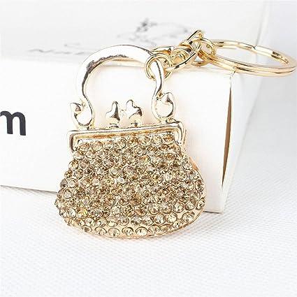 Jiopi Llavero para mujer, bonito bolso de mano con cristales ...