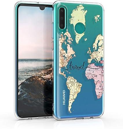 kwmobile Cover Compatibile con Huawei P30 Lite - Custodia in Silicone TPU - Backcover Protettiva Cellulare Mappa del Mondo ...