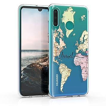 kwmobile Funda para Huawei P30 Lite - Carcasa de [TPU] para móvil y diseño de Mapa Mundial en [Negro Transparente]