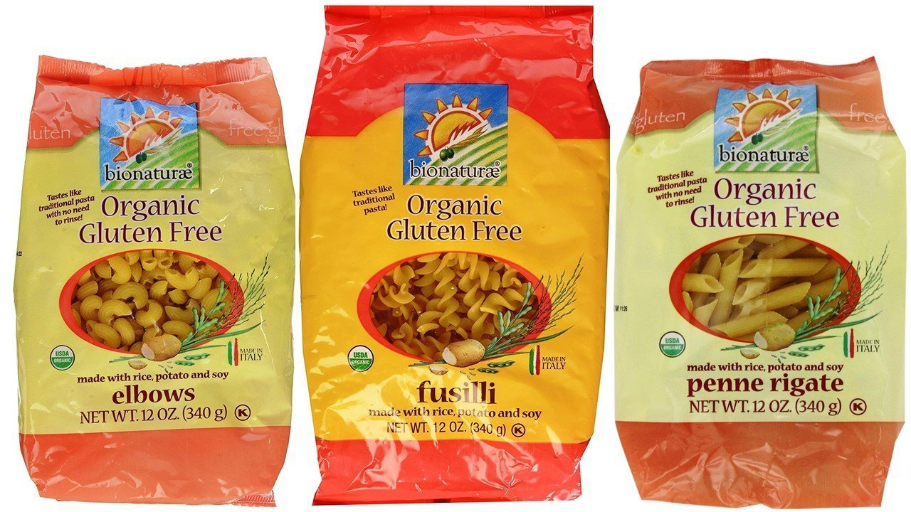 Bionaturae Organic Gluten-Free Italian Pasta 3 Shape Variety Bundle: (1) Elbows, (1) Fusilli, and (1) Penne Rigate, 12 Oz. Ea.
