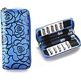 プルームテック 電子タバコケース 3本分+2シート収納・コンパクト・超軽量・高級レザー本革 キャリング ケース (ブルー, ダブル)