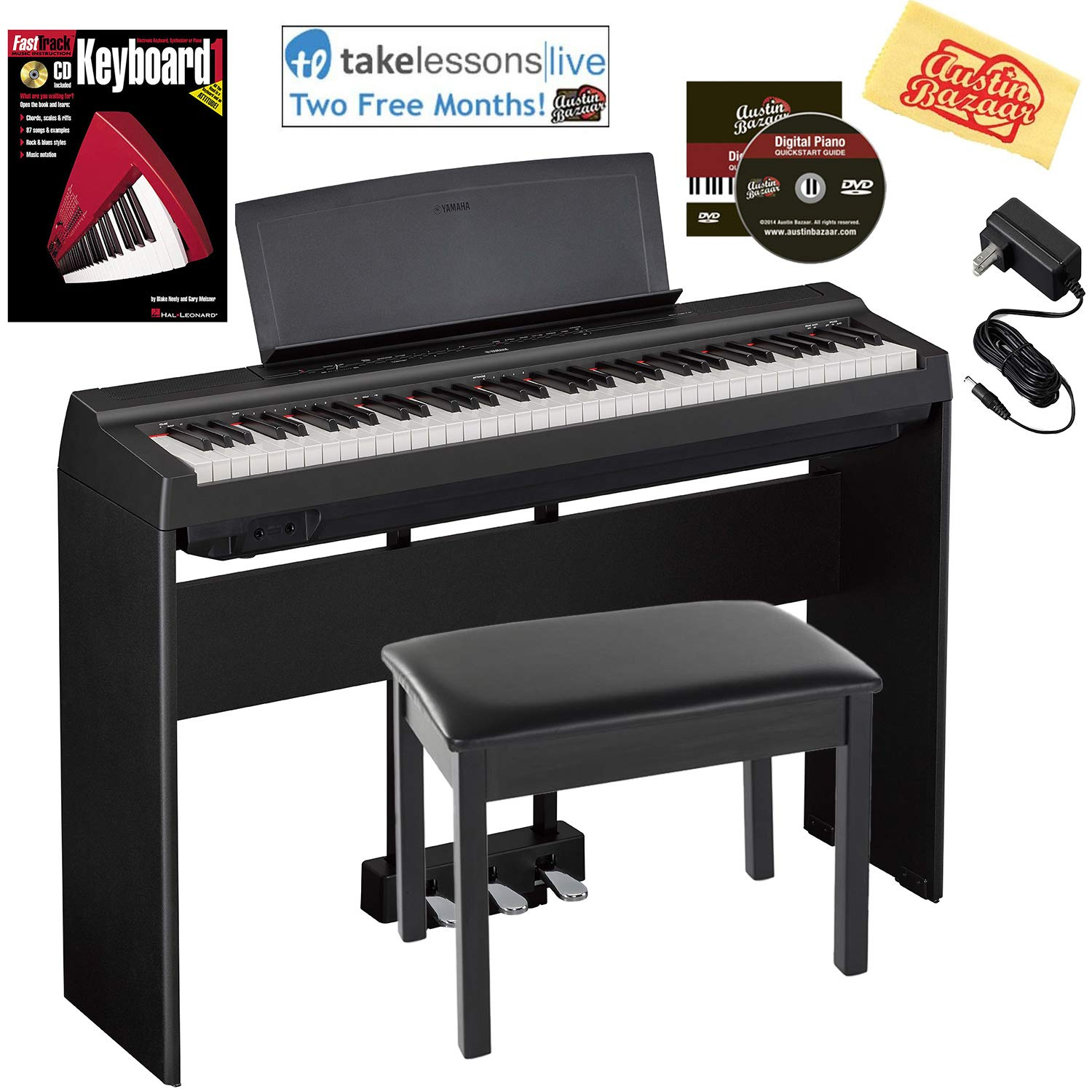 Yamaha P-121 73-Key Compact Digital Piano - Black Bundle with Yamaha L-121 Stand, LP-1 Pedal, Furniture Bench, Online Lessons, Instructional Book, Austin Bazaar Instructional DVD, and Polishing Cloth by YAMAHA