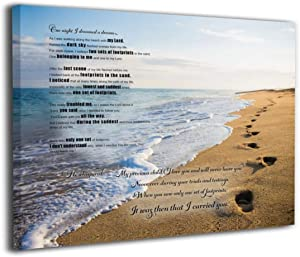 MFHS Footprints in The Sand Poem Canvas Print Picture Photo Frames 16x20inch Contemporary Home Decor Artwork - Wood Frame Hanging Wall and Living Room Tabletop Bedroom Display Poster Frame